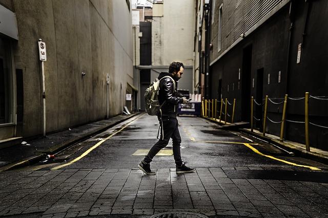 alley, fashion, man